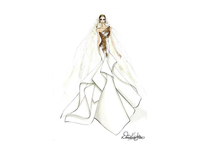 Эскизы свадебного платья для Леди Гаги