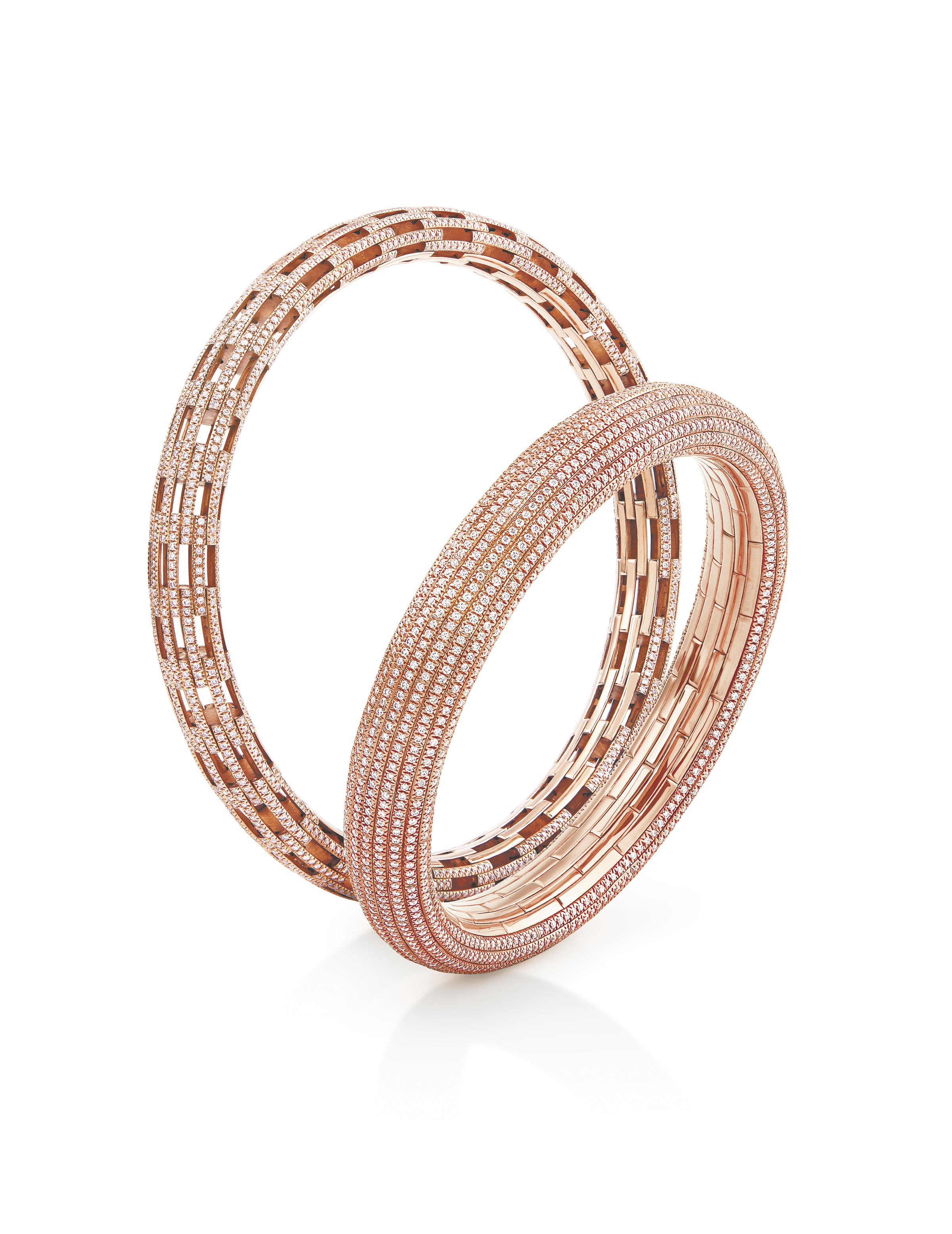 NIRAV MODI 18K Pink Gold Slim Embrace Bangle with Baby Pink Diamonds